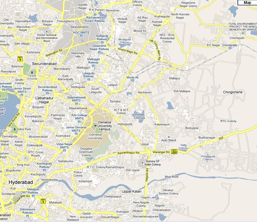 Uppal – Malkajgiri, Habsiguda, Moulali, Nacharam, Boduppal, Malapur