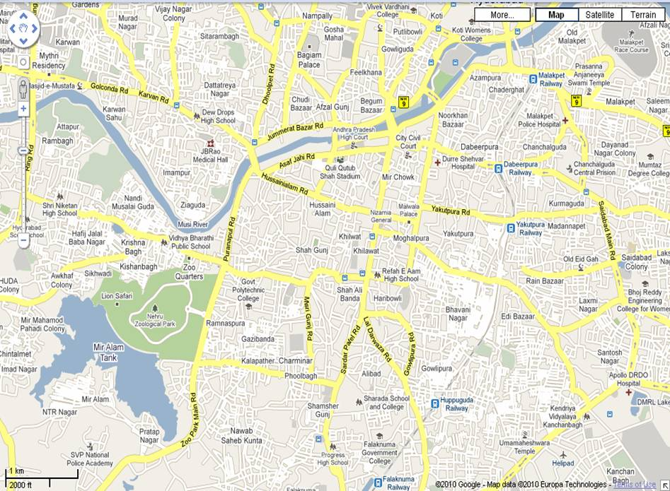 Hyderabad Old City Map