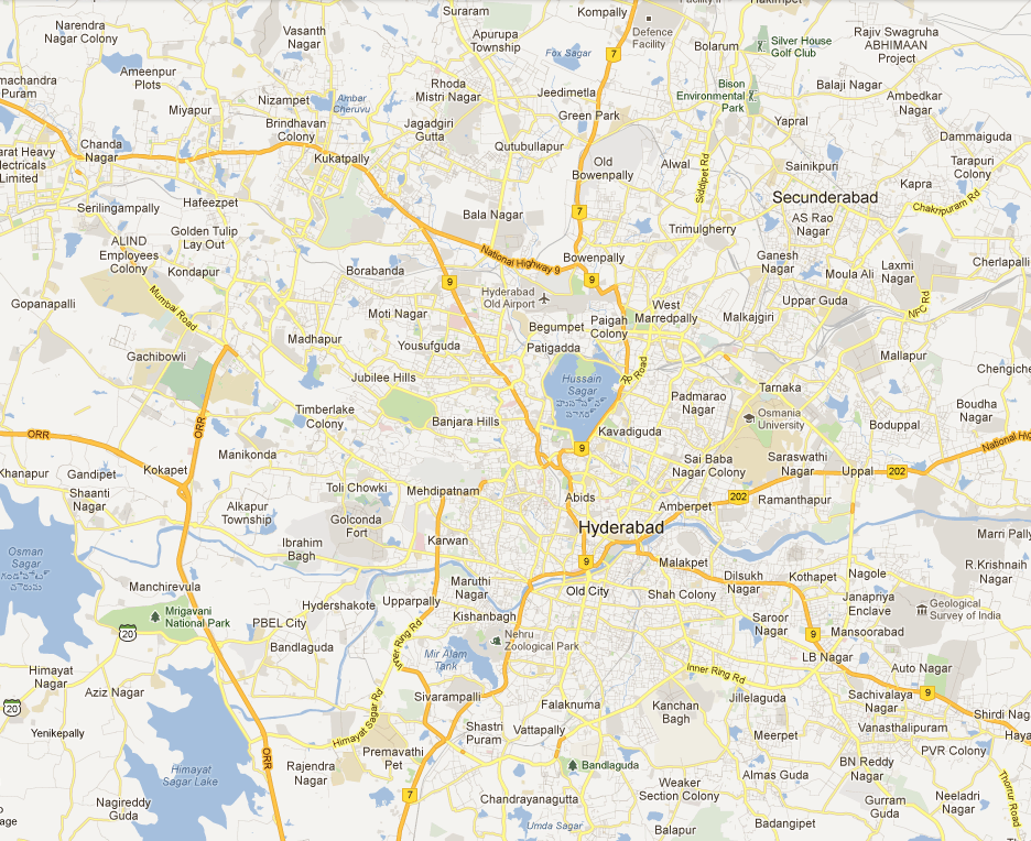 Hyderabad Map > Map of Hyderabad > City Maps | Hyderabad India Online