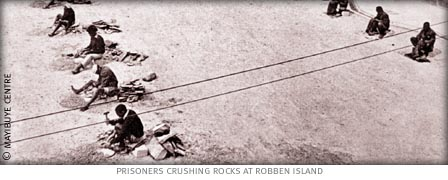 prisoners at robben island crushing stones